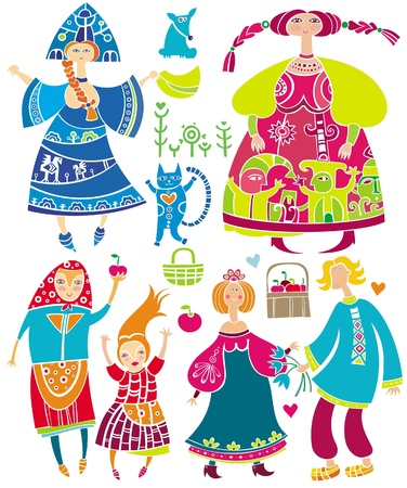 Decorative set of Slavonic cartoon characters: beautiful women, young girl in ethnic dress, boyfriend and girlfriend, basket of apples, cat. Vector