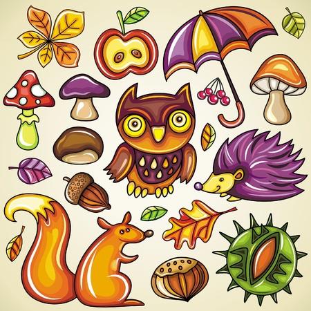 squirrel isolated: Autumnal set