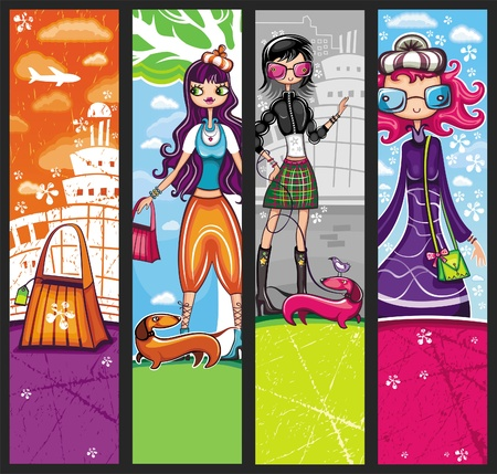 Urban shopping girls - banners set with copyspace (girls banners series)  Vector