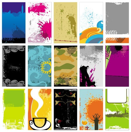 vertical banner: grunge business cards templates Illustration