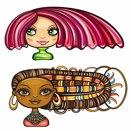 2 cool hair styles on beautiful girls: Chic girl with a short stylish haircut with bright pink high lights, and African american cute girl with colorful braids and original ethnic jewelry.  Vector