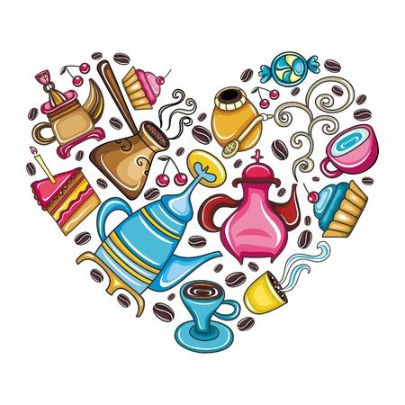 Escena de amante de caf�: bellamente arreglado caf�, t�, mate objetos relacionados y dispositivos en forma de coraz�n, aislado en blanco