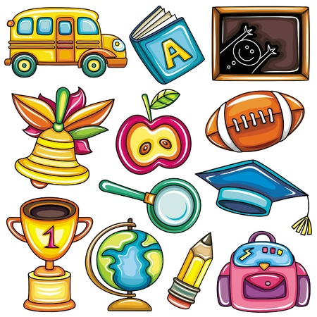 objects: Colorful school icons  Illustration