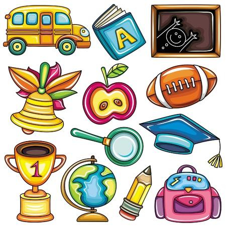 sport ecole: Ic�nes color�es scolaires Illustration