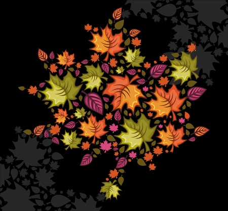 Different types of autumnal leafs combined in a shape of a leaf Vector