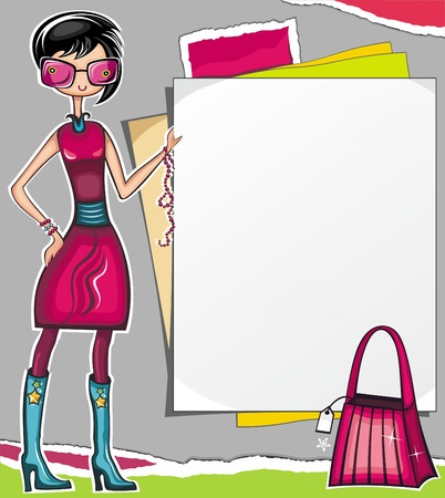 Fashion shopping girl showing message bord with and shopping bag (shopping series)  Vector