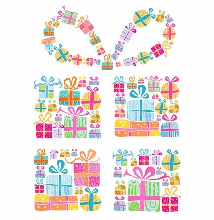 diminuto: Caja de regalo decorativo formado por varias cajas de regalos peque�os