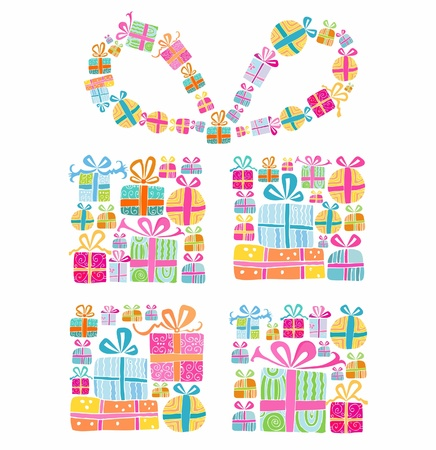 Decorative gift box formed by several tiny gift boxes Illustration