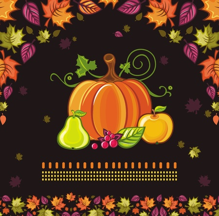 Thanksgiving Design: colorful leaves flying around pumpkin,pear,apple berries.  Vector