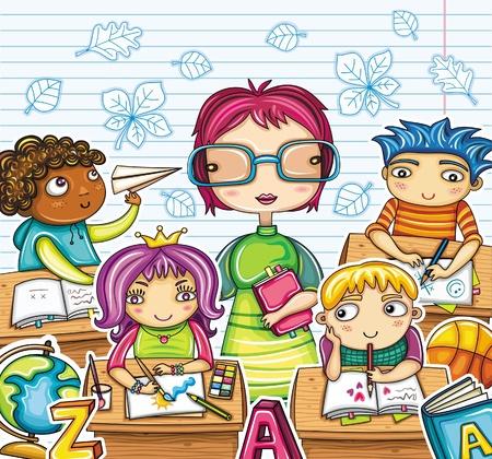 教師: 教師和可愛的孩子在課堂上。 向量圖像