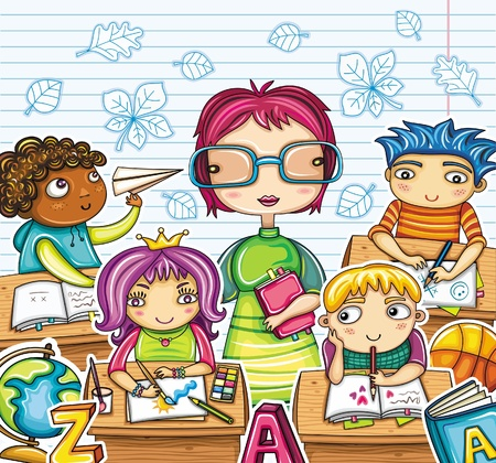 schoolkid: Teacher and cute children in the classroom.  Illustration