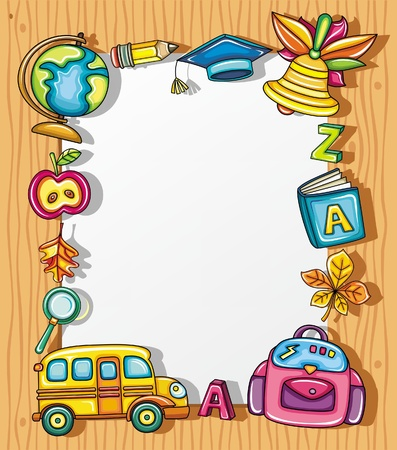 Cute grunge frame with colorful school icons, isolated on wooden background.  Illustration