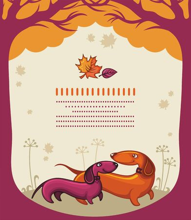 Dachshunds love - autumn banner.  Vector