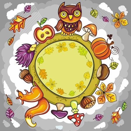 cartoon mushroom: Autumn round planet with cute animals, leaves, mushrooms and other autumnal design elements. you can place your text inside of the round frame.  Illustration