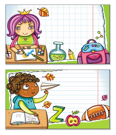 Vector banner with cute children sitting at the desks and school design elements. Copybook background, space for your text  Vector