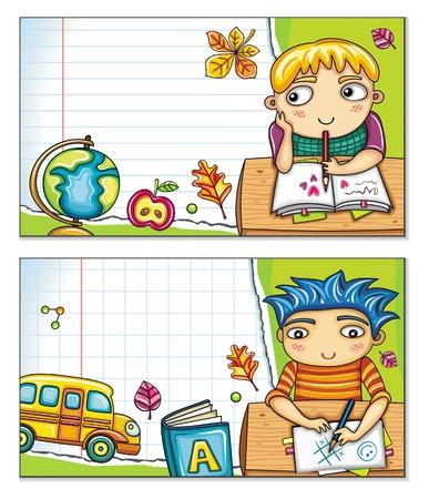 Banner de vectores con lindos niños sentados en las mesas y elementos de diseño de la escuela. Fondo Copybook, espacio para el texto.  Ilustración de vector