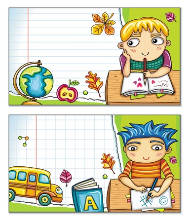 Vector banner with cute children sitting at the desks and school design elements. Copybook background, space for your text.  Vector