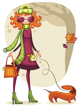 vintage woman: Whimsical shopping girl with dachshund in the autumn park.