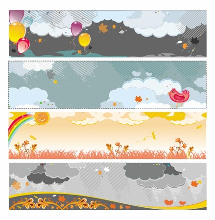 Autumn rainy banners with balloons and birds. Illustration