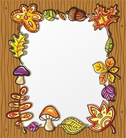 autumn leaf frame: Marco de vectores con s�mbolos de naturaleza oto�al sobre fondo de madera, con espacio para el texto  Vectores