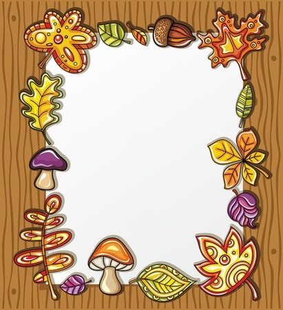 cartoon frame: Telaio vettoriale con simboli di natura autunnale su fondo in legno, con spazio per il vostro testo