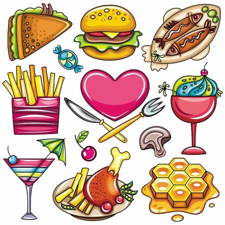 cuisine fran�aise: Set de pr�t-�-manger la nourriture des ic�nes isol� sur fond blanc. partie 2 Illustration