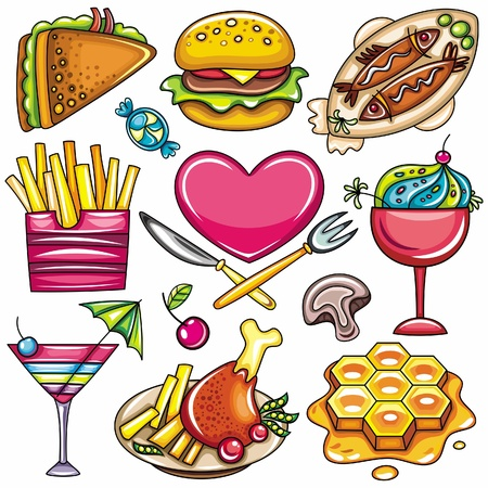 cartoon food: Set of ready-to-eat food icons isolated on white background. part 2