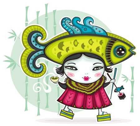 Funny Japanese girl wearing funny Fish hat holding cup of green tea and chopsticks with sushi  Vector