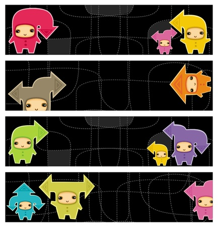 gnome: kids arrows vector banners.