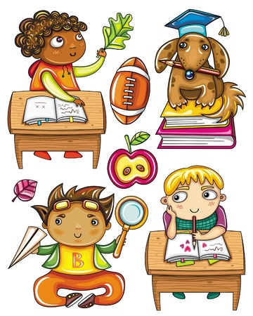 schoolgirl: Group of cute, little schoolchildren. Isolated on white background. African boy, sitting at the desk, studying laef. Very smart dog sitting on books, wearing graduation hat. Funny Hispanic boy  studying movement of the paper plane. Blond boy sitting at th Illustration