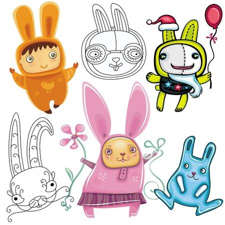 Conjunto de vectores de conejos lindos diferentes.