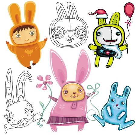 Vector set of different cute Rabbits.  Vector