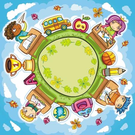 niños escribiendo: Composición ronda colorido, con lindos escolares y elementos de diseño de escuela