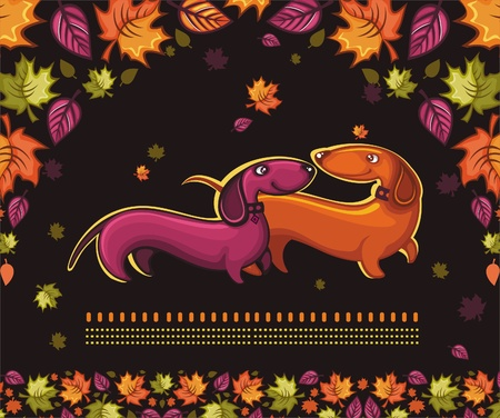hunting dog: Dachshunds love - autumn banner.