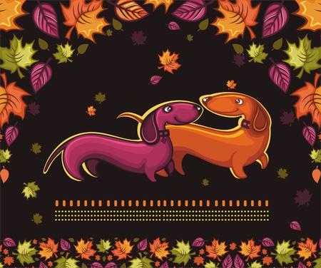 puppy love: Dachshunds love - autumn banner.