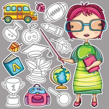 Cute cartoon teacher and school doodle icons Stock Vector - 10363874