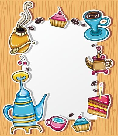 kettles: Marco grunge lindo con caf�, t�, pastel, s�mbolo de la yerba mate