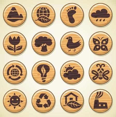 ECO. Conjunto de iconos de madera de medio ambiente