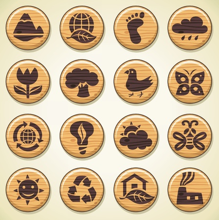 ECO. Wooden environment icons set  Stock Vector - 10363888