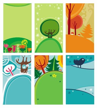 Primavera verano tarjetas Vectores
