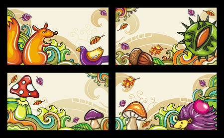 hedgehog: set of decorative autumnal cards 2