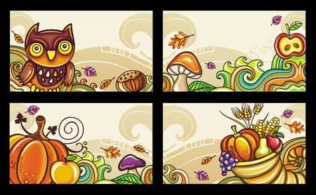 set of decorative autumnal cards 1 Иллюстрация