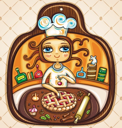 female chef: I love cooking Illustration