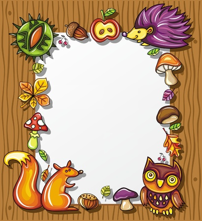 Autumnal wooden frame with natural design elements  Illustration