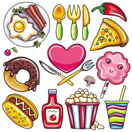 Set de productos listos para comer alimentos iconos aislados sobre fondo blanco. parte 2
