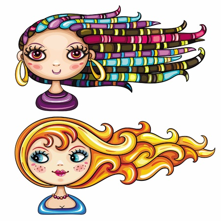 cartoon hairdresser: 2 cool hair styles on beautiful girls. part 1 Illustration