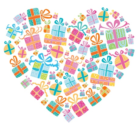 Different types of cute presents combined in a shape of a heart.  Vector