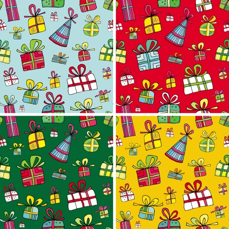 repeat square: Seamless christmas presents pattern set. Illustration