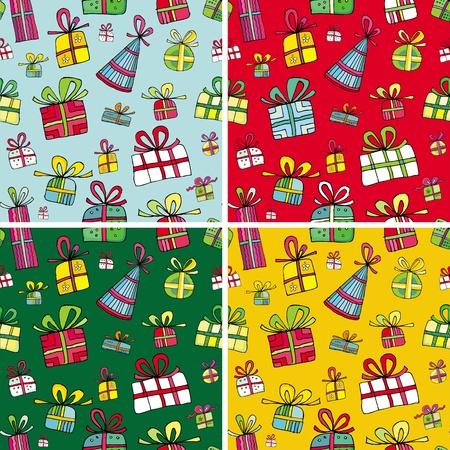 Seamless christmas presents pattern set. Stock Vector - 10919604