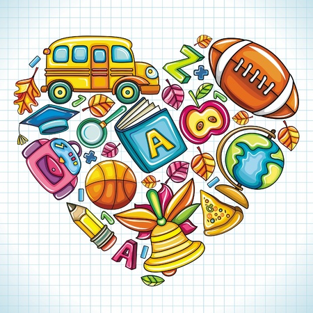 Different types of colorful school icons, combined in a shape of a heart.  Illustration